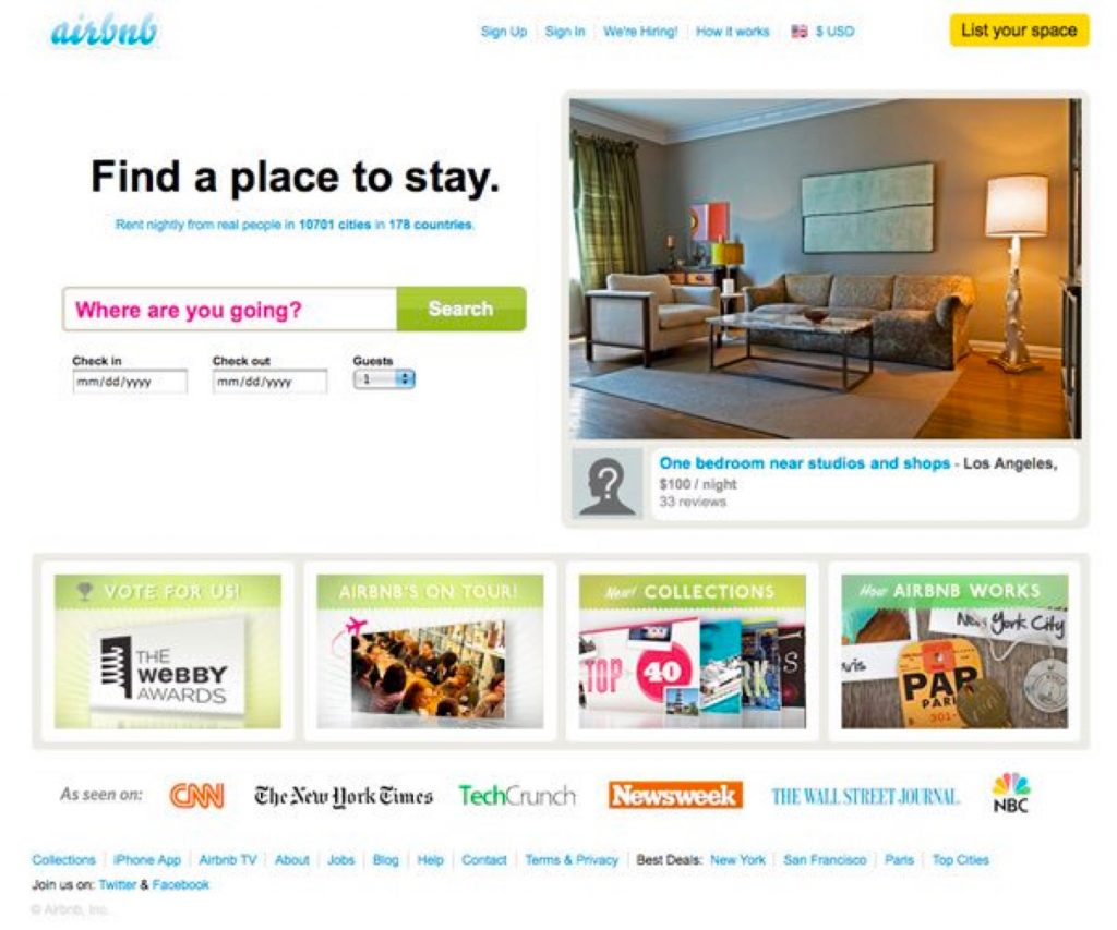 AirBnB's website at IPO, 2011