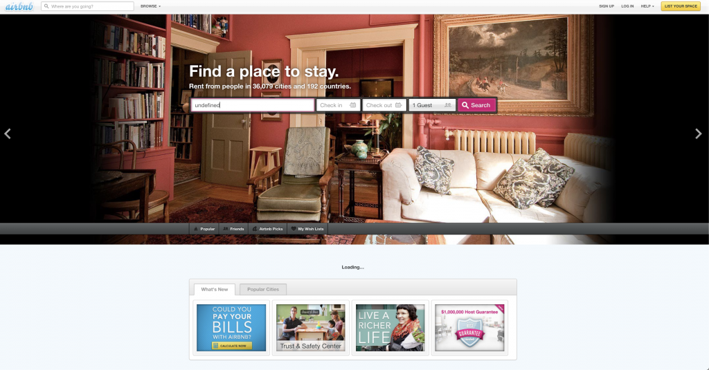 AirBnB's website in 2013