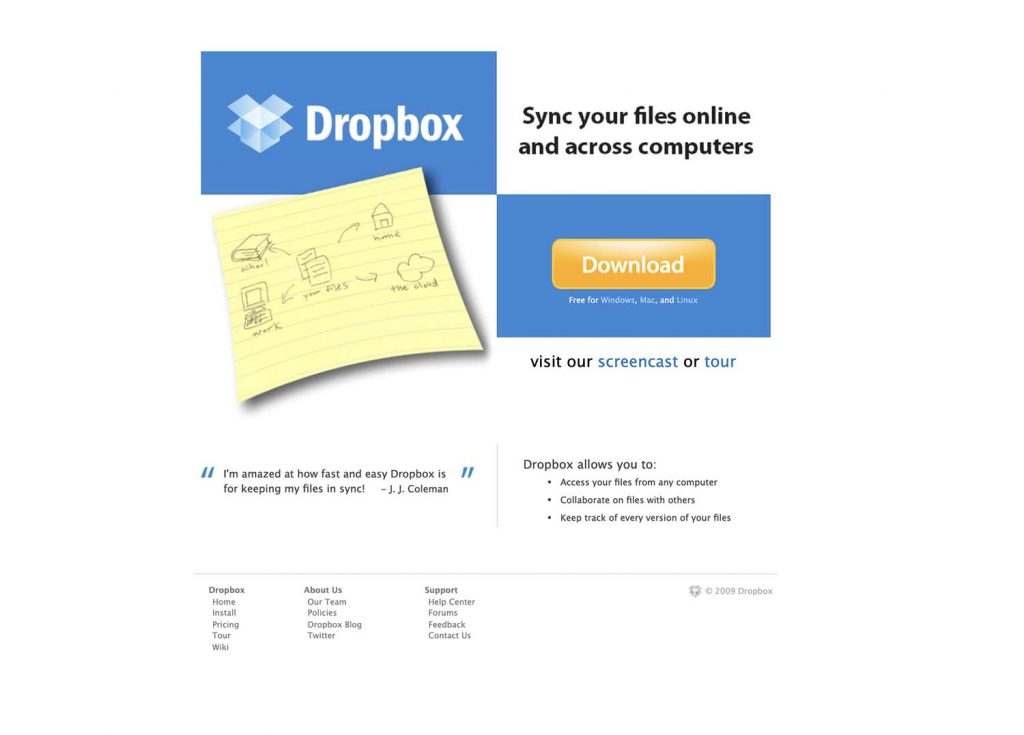 Dropbox's website in February 2009