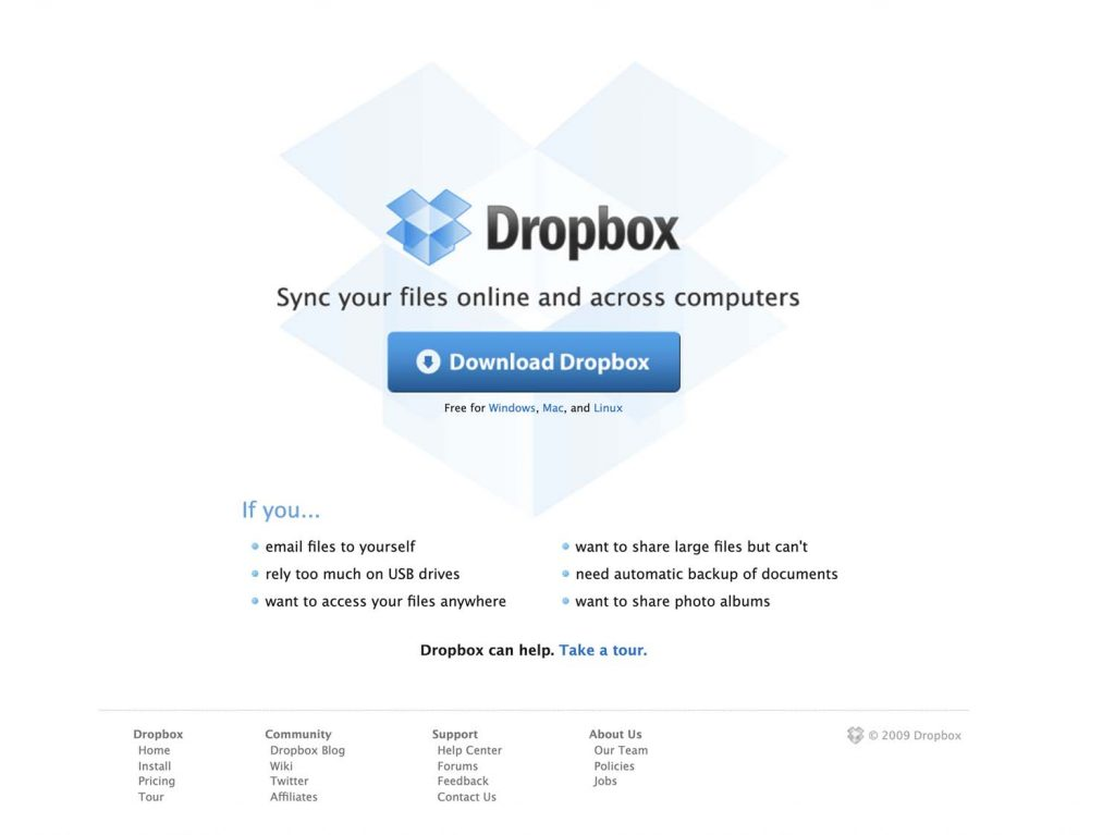 Dropbox's website in July 2009