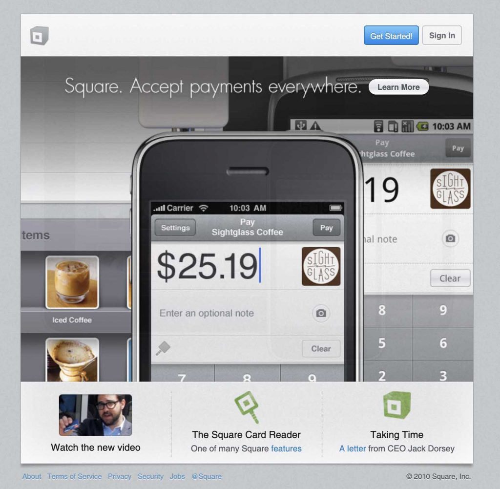 Square's website in May 2010