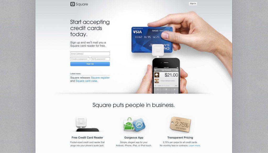 Square's website in July 2011