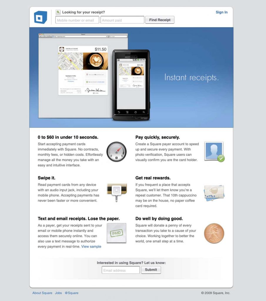 Square's website in 2009