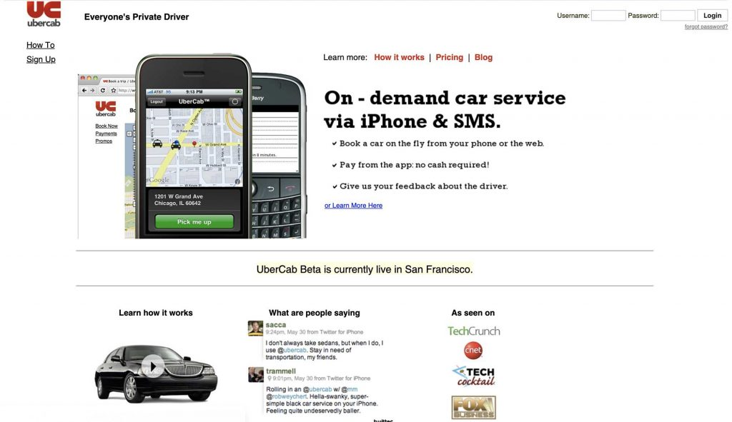 Uber's Website in 2010