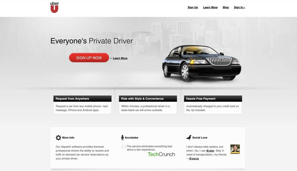 Uber's Website in 2011