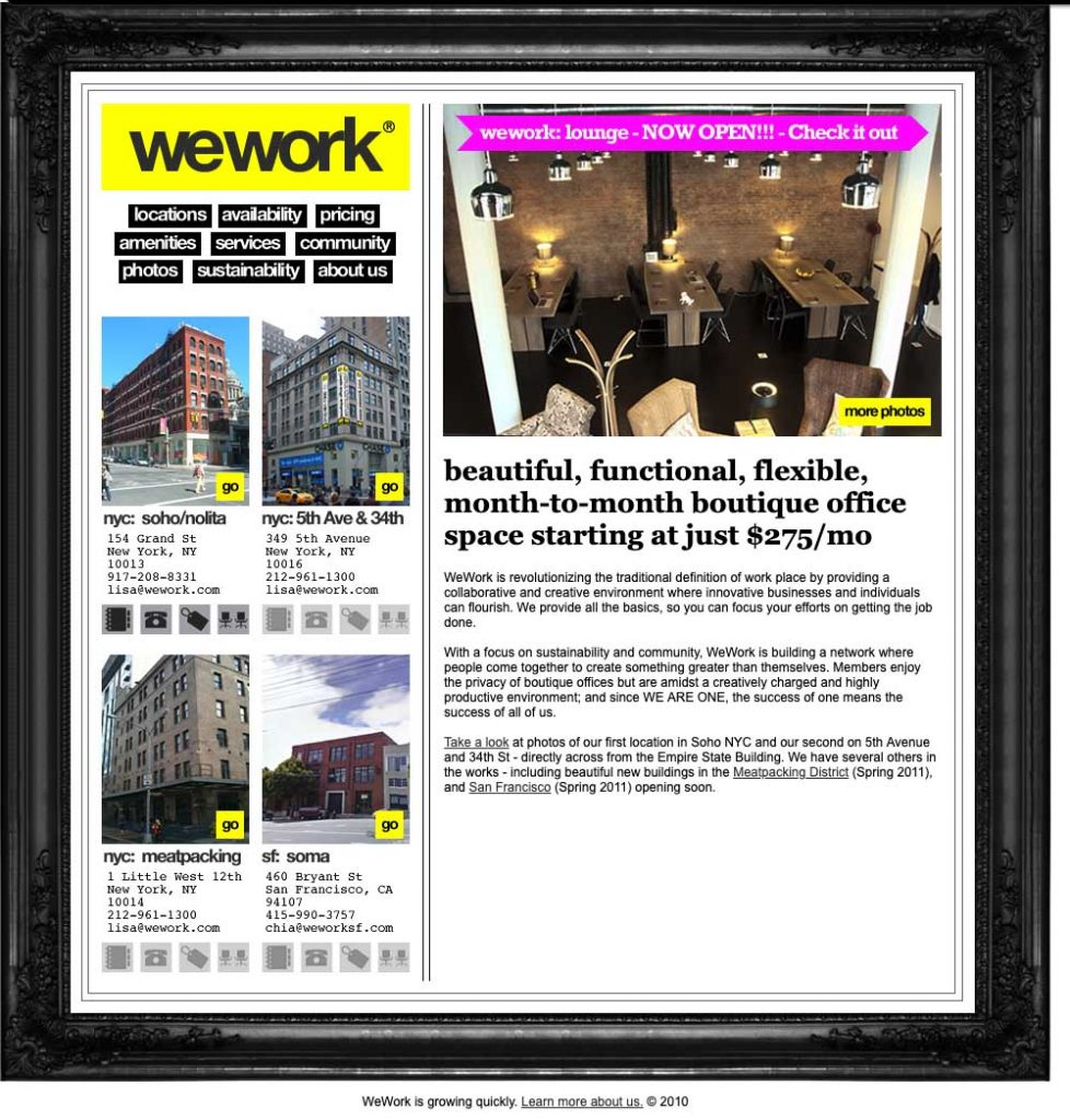 WeWork's website February 2011