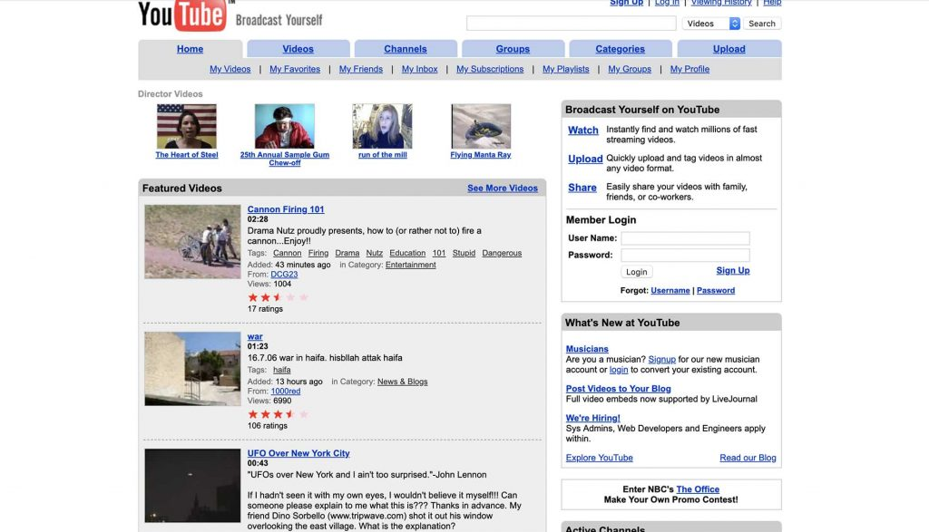 YouTube's website in 2006