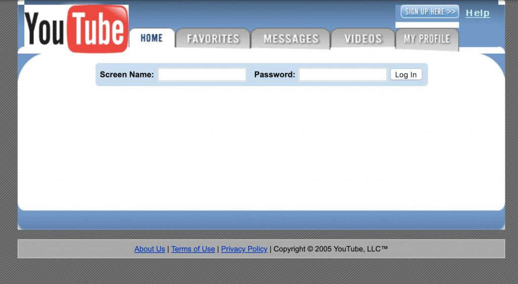 YouTube on their launch day, February 2005